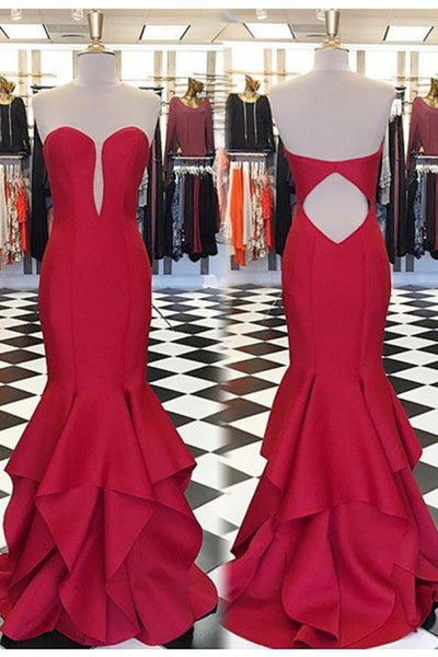 Sweet 16 Dresses | Red chiffon strapless long evening dresses,simple mermaid formal dress