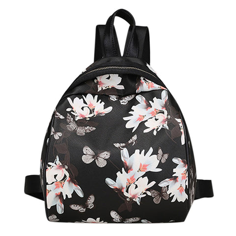 Sweet 16 Dresses | Fashion Flower Printed Backpack Women PU Mini Backpack Casual Travel School Bags for Teenage Girls Leather Backpack Mochila