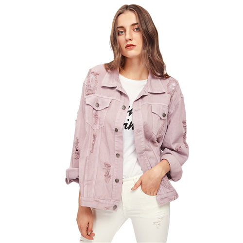 26d15856c4 SHEIN Rips Detail Boyfriend Denim Jacket Autumn Womens Jackets and Coats  Pink Lapel Single Breasted Casual Fall Jacket