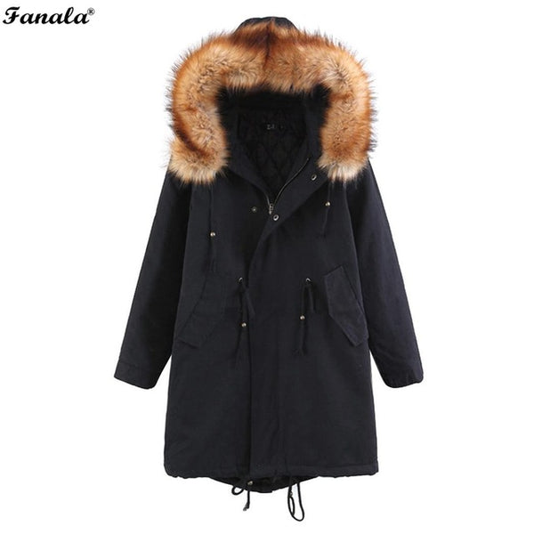 Sweet 16 Dresses | FANALA Women Hooded with Faux Fur Long Sleeve Jacket Coat Outwear Autumn Winter Korean Warm Cotton Slim Long Female Coat 2018