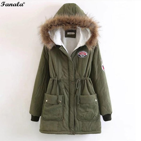 Sweet 16 Dresses | FANALA Winter Coat Women Jacket Parka Faux Fur Hooded Thick Long Sleeve Zipper Drawstring Women's Coats Jackets Plus Size Coat