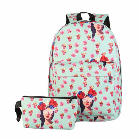 2019 Prom Dresses | 2Pcs Candy Color Printing Backpack Women Nylon Travel Backpack Famous Design School Bags for Teenager Girls Mochila Escolar New