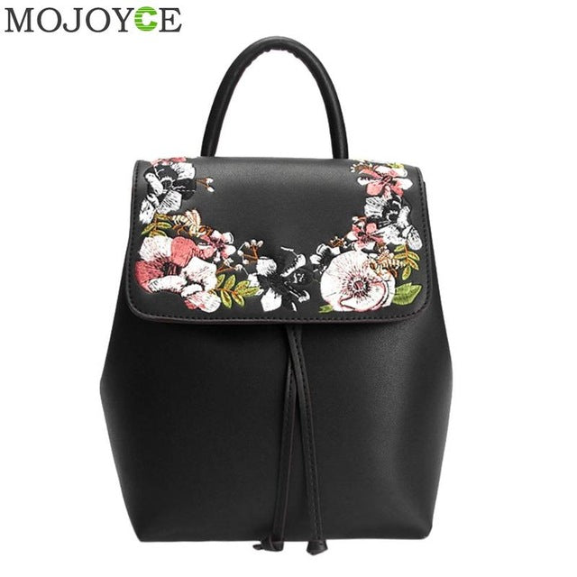 Sweet 16 Dresses | Fashion Floral School Girls Bags Women Backpack Small Black PU Leather Women's Backpacks Famous Brands mochilas Female Back Pack
