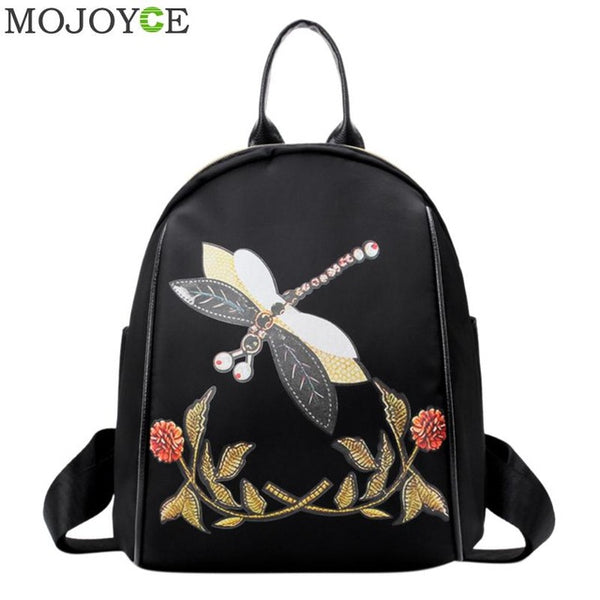 Sweet 16 Dresses | Dragonfly Embroidery Backpack Vintage Backpack Women Zipper Casual Shoulder Bag Fashion School Bags for Teenager Girls Rucksacks