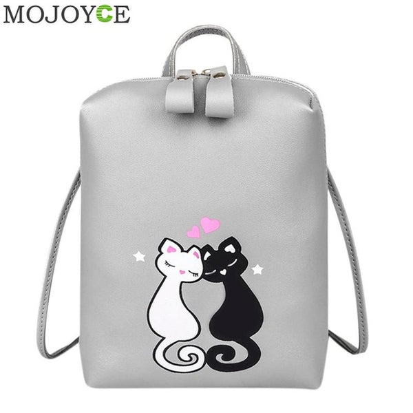 2019 Prom Dresses | Cute Cat PU Backpack Cartoon Embroidery Backpacks For Teenage Girls Casual School Bag Fashio Black Printing Rucksack mochilas