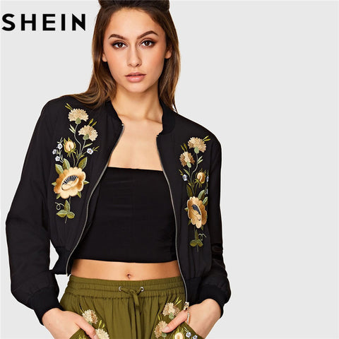 85d90f6f9d SHEIN Streetwear Black Floral Embroidered Long Sleeve Women Bomber Jacket  Autumn New Zipper Placket Polyester Casual