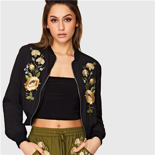 827d30611d SHEIN Streetwear Black Floral Embroidered Long Sleeve Women Bomber Jacket  Autumn New Zipper Placket Polyester Casual Jackets