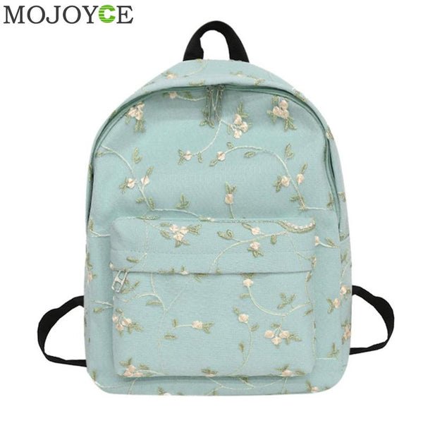 Sweet 16 Dresses | Fresh Style Women Backpacks Floral Embroidery  Bookbags Canvas Backpack School Bag For Girls Rucksack Female Travel Backpack