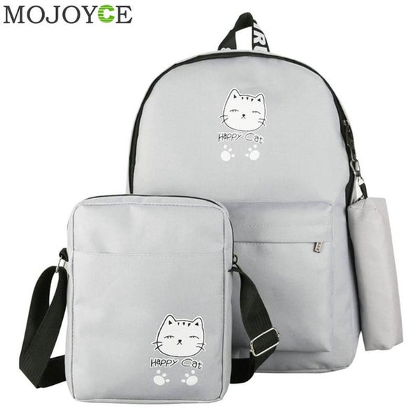 Sweet 16 Dresses | 3Pcs/Set Cartoon Printed Women Canvas Backpacks Schoolbags Girls Travel Student Shoulder Crossbody Bag Teen Composite Pouch Bags