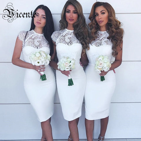 Sweet 16 Dresses | Free Shipping! 2018 New Fashion Graceful Lace Splicing Short Cap Sleeves O Neck Wholesale Celebrity Party Women Bandage Dress