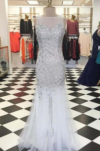 White tulle sequins beaded mermaid formal dresses,long dress - prom dresses 2018