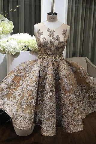 2018 evening gowns - Champagne lace round-neck short formal dresses,prom dress for teens