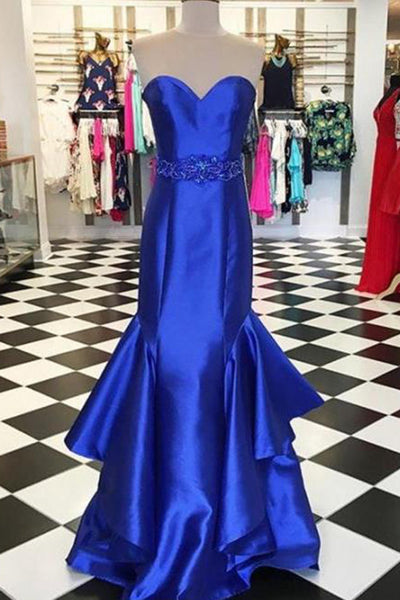 2018 evening gowns - Navy blue satins sweetheart formal dresses,long dress,luxury evening dress