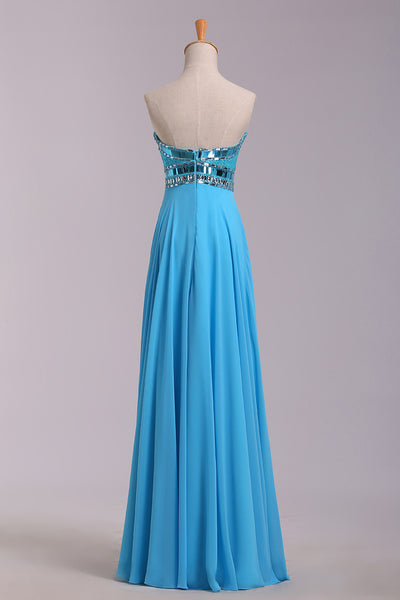 2019 Prom Dresses | Blue chiffon sweetheart rhinestone simple long prom dresses,evening dresses for teens