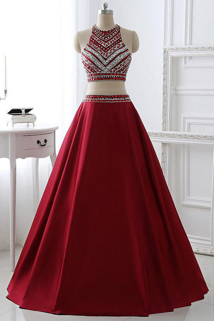 Prom 2020 | Red satins A-line sequins two pieces shining beading rhinestone long big size formal prom dresses
