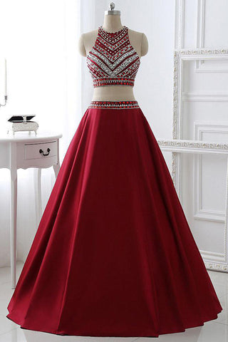 Red satins A-line sequins two pieces shining beading rhinestone long big size formal prom dresses - Sweetheartgirls