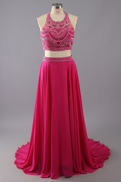 Hot pink chiffon two pieces beading sequins A-line long evening dresses,formal dress - occasion dresses by Sweetheartgirls