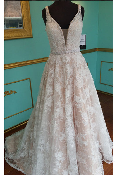 Champagne lace V-neck A-line long pearl long prom dress for teens,formal dresses for teens - prom dresses 2018