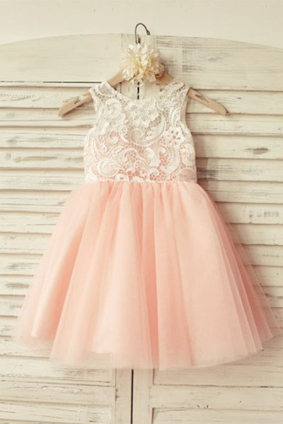 light orange organza lace A-line simple girls dress  with straps - occasion dresses by Sweetheartgirls