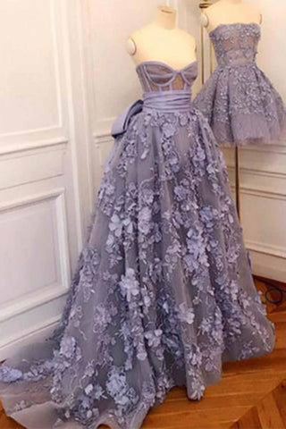 Elegant lavender 3D lace sweetheart neck sweep train evening dress with bowknot, long spring formal prom dresses