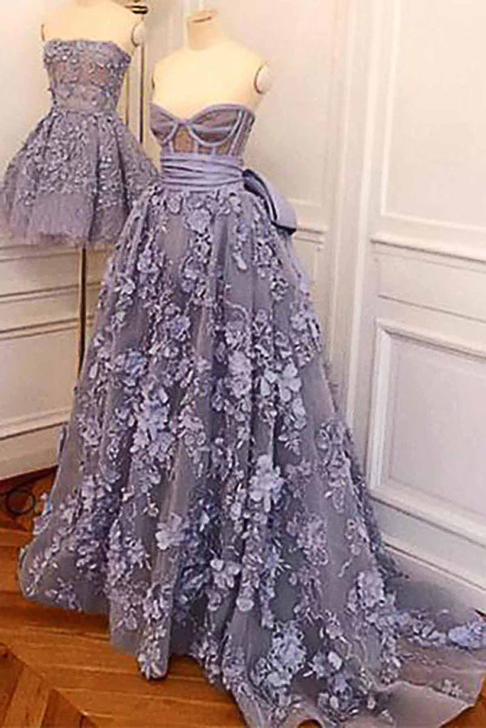 Elegant lavender 3D lace sweetheart neck sweep train ...
