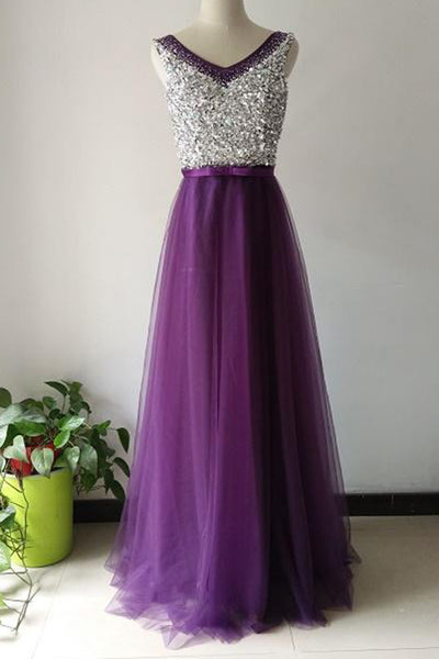 2018 evening gowns - luxury purple tulle A-line sequins V-neck long prom dresses,evening dresses for teens