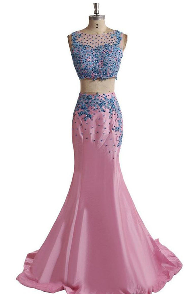 Sweet 16 Dresses | Pink chiffon two pieces blue applique round meck mermaid long dresses,floor-length dresses