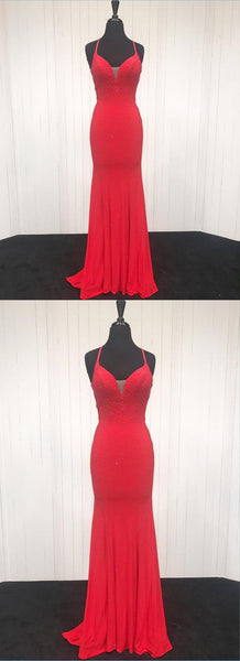 Sweet 16 Dresses | Sexy red chiffon long mermaid evening dress, long open back beaded senior prom dress
