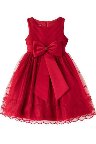 Red organza round neck A-line bowknot girls dress  with straps - Sweetheartgirls