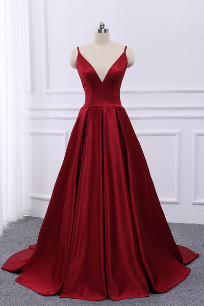 Sweet 16 Dresses | Burgundy satin open back V neck long customize evening dress, homecoming dress