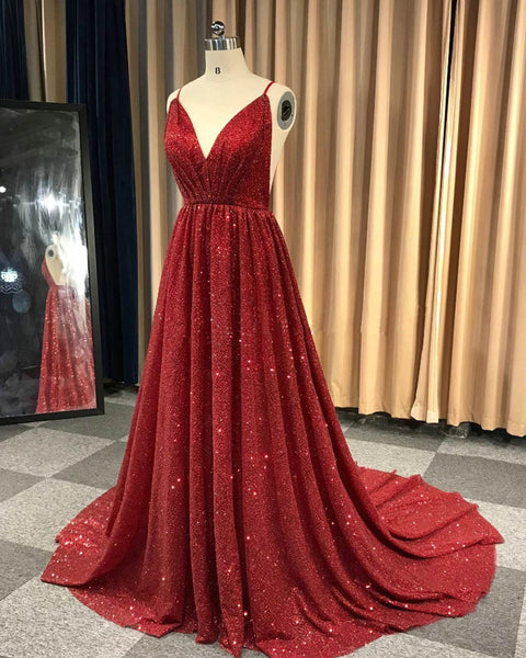 2019 Prom Dresses | Burgundy sequin V neck sexy backless long evening dress, party dress