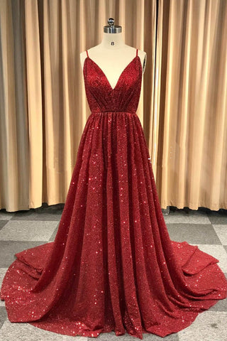 Sweet 16 Dresses | Burgundy sequin V neck sexy backless long evening dress, party dress