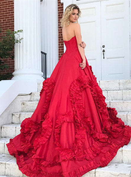 Sweet 16 Dresses | Chic sweetheart neck long A-line taffeta modest lace up evening dresses