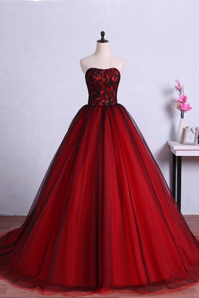 Sweet 16 Dresses | Sweetheart neck red tulle floor length customize strapless lace senior prom dress with beading
