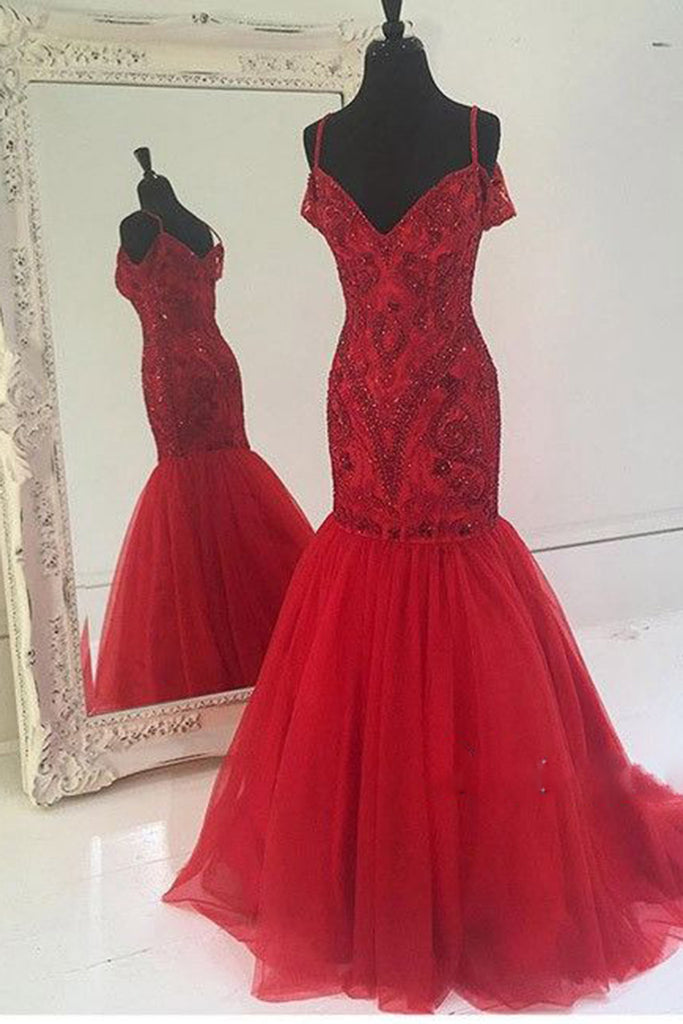 Sweet 16 Dresses | Red tulle sequins beading mermaid v-neck long dress,princess floor-length formal dress