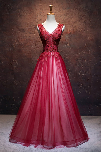Sweet 16 Dresses | Elegant deep red tulle V neck long lace up handmade sweet 16 prom dresses