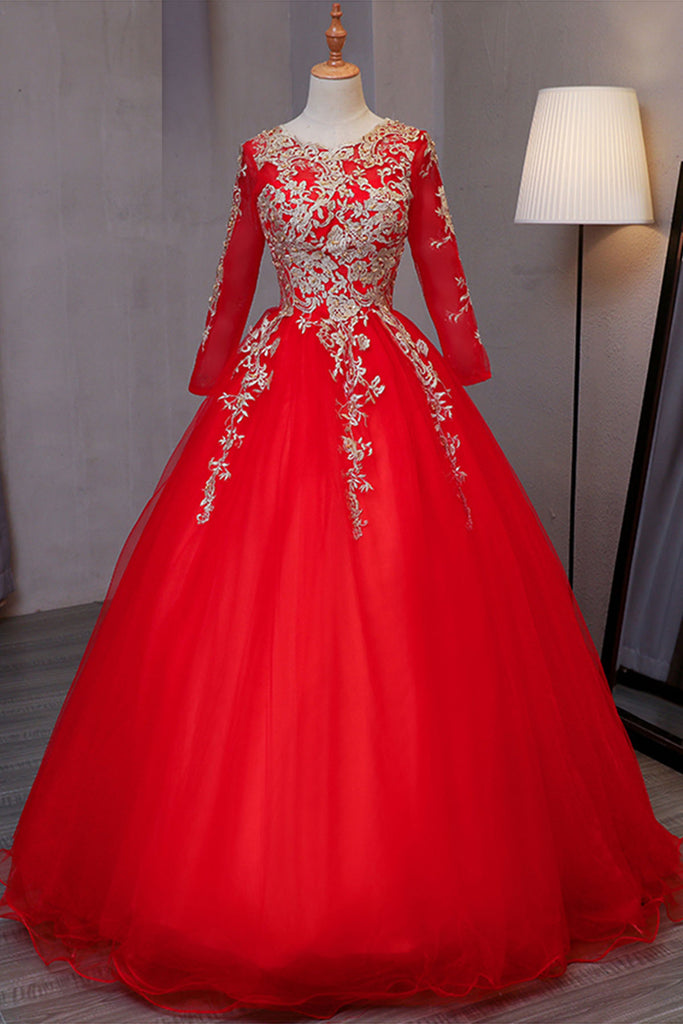 Stylish red tulle long evening dress with gold lace appliqués, long ...