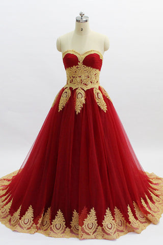 Sweet 16 Dresses | Burgundy Tulle Strapless Long Gold Applique Evening Dress, Formal Prom Dress