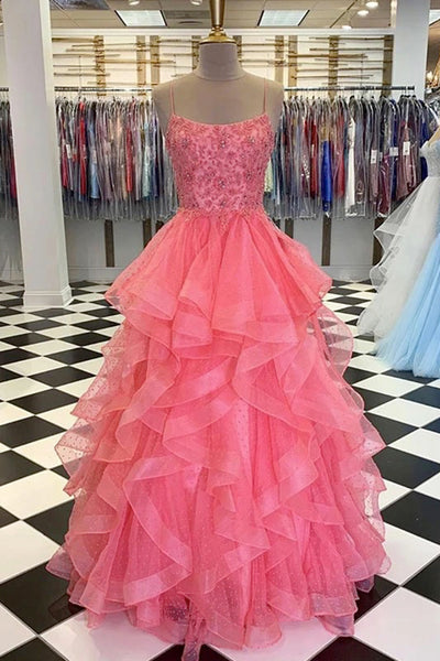 Pink Tulle Spaghetti Straps Long Layered Beaded Formal Dress Prom Dress