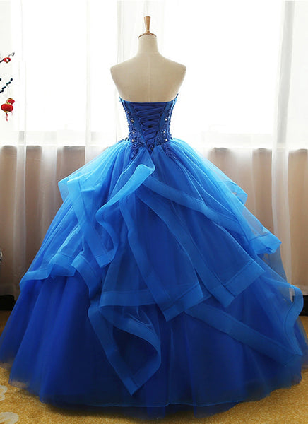 Sweet 16 Dresses | Sweetheart royal blue tulle long ball gown, strapless lace up long evening dress, formal prom dresses
