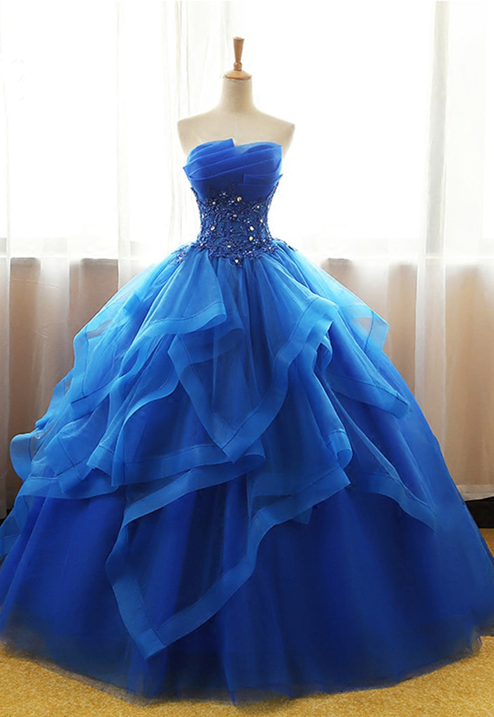 Sweetheart royal blue tulle long ball gown, strapless lace up long ...