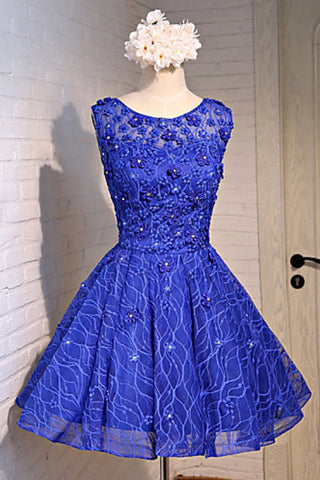 Royal blue lace scoop neck short prom dress, flower lace party dress
