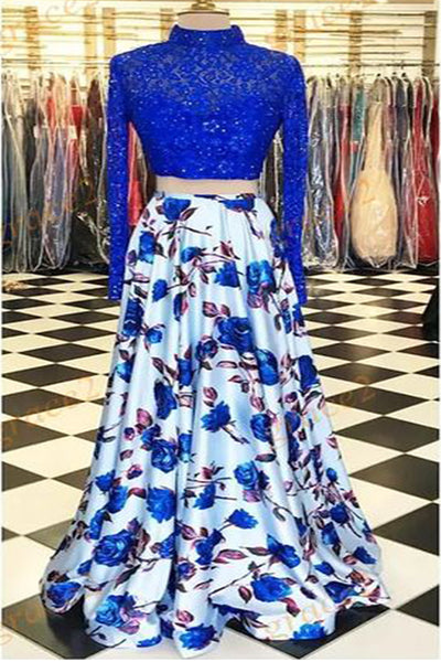 Sweet 16 Dresses | Royal blue lace two pieces flower floral plus size prom dress with sleeves