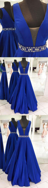 Sweet 16 Dresses | Royal blue satin V neck long halter prom dress, long beaded A-line evening dress