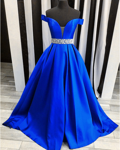 Sweet 16 Dresses | Royal blue satin strapless long off shoulder senior prom dress with beading belt