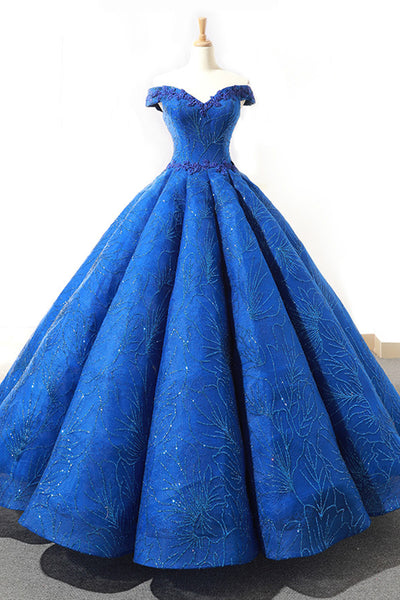 Sweet 16 Dresses | Gorgeous royal blue heavy satin off shoulder long formal prom dress, evening dress with lace appliqués