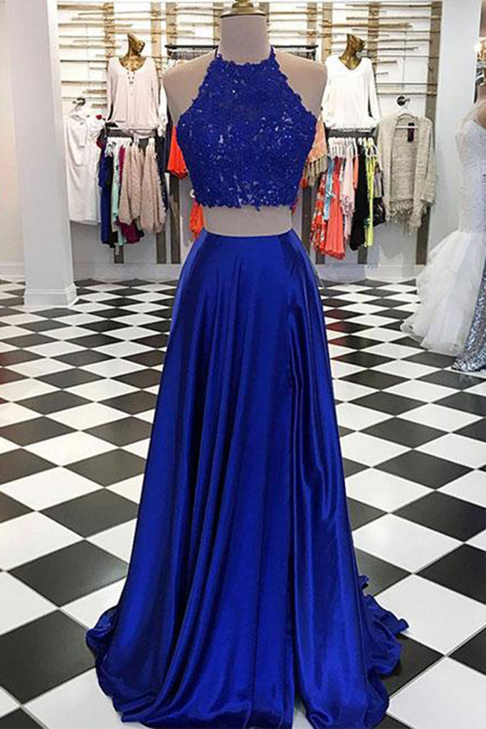 Sweet 16 Dresses | Fashion royal blue satin two pieces O neck long lace top evening dress, long strapless slit homecoming dress