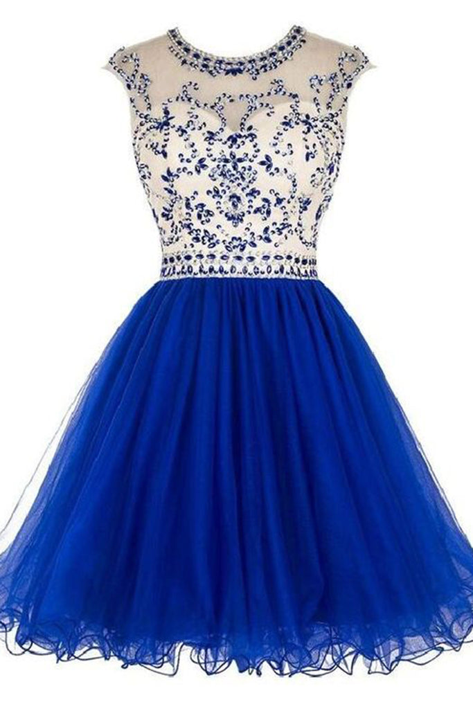 2018 evening gowns - Navy blue organza sequins beaded round neck A-line  short dresses for teens