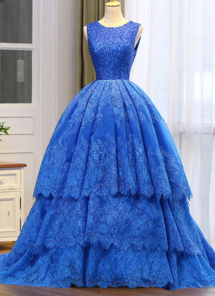 Sweet 16 Dresses | Royal blue lace princess long prom gown, long sequins occasion dresses