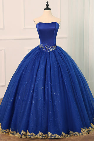 17254adbcc2c Royal Blue Tulle Strapless Long Beaded Formal Prom Dress, Party Dress With  Applique
